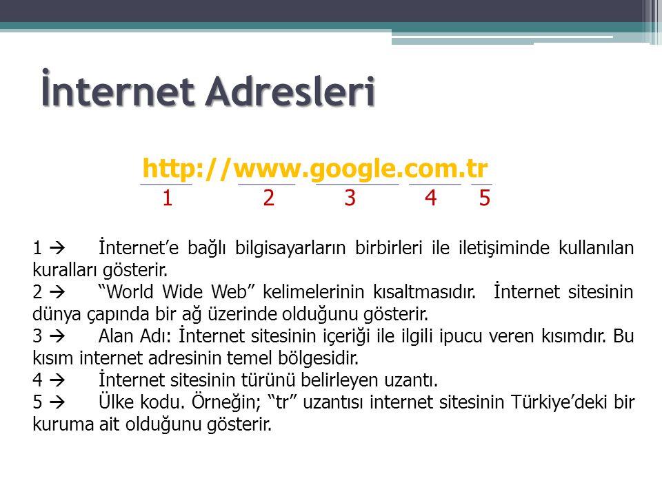 """http://www.google.com.tr 1 2 3 4 5 1  İnternet'e bağlı bilgisayarların birbirleri ile iletişiminde kullanılan kuralları gösterir. 2  """"World Wide Web"""