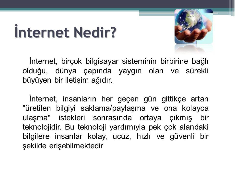 İnternet Nedir? İnternet, birçok bilgisayar sisteminin birbirine bağlı olduğu, dünya çapında yaygın olan ve sürekli büyüyen bir iletişim ağıdır. İnter