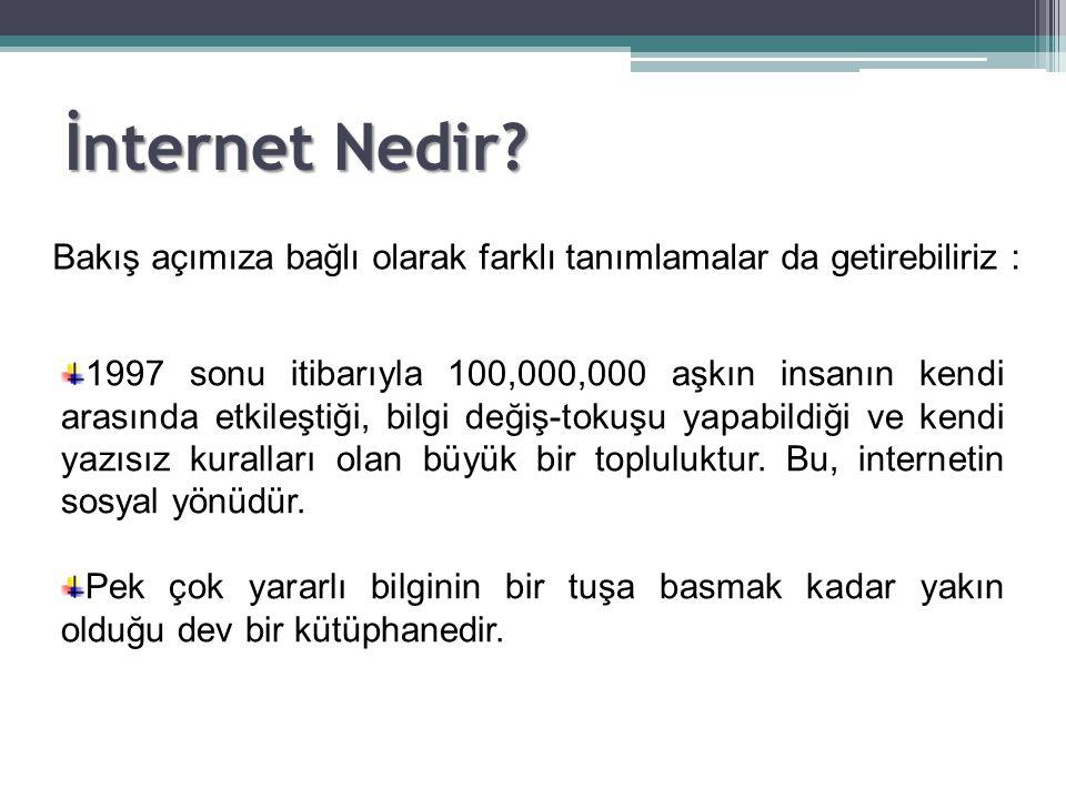 İnternet Nedir? Bakış açımıza bağlı olarak farklı tanımlamalar da getirebiliriz : 1997 sonu itibarıyla 100,000,000 aşkın insanın kendi arasında etkile