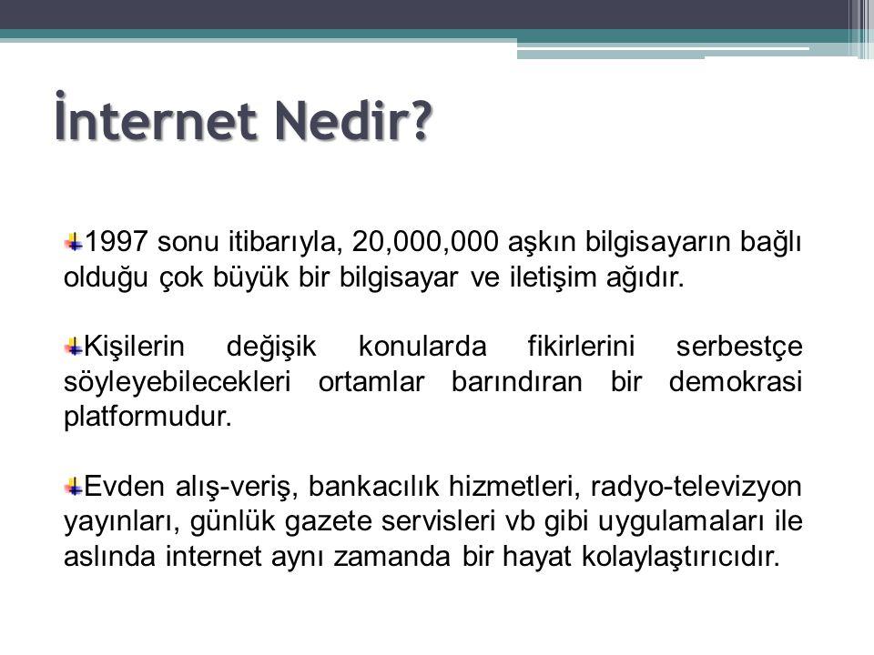 1997 sonu itibarıyla, 20,000,000 aşkın bilgisayarın bağlı olduğu çok büyük bir bilgisayar ve iletişim ağıdır. Kişilerin değişik konularda fikirlerini