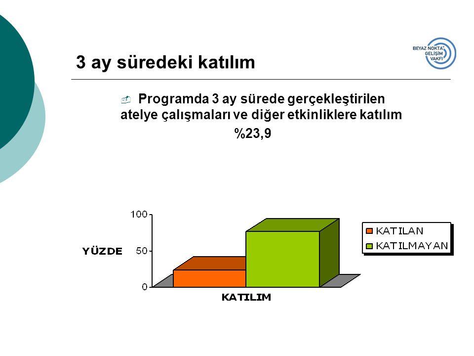 3 ay süredeki katılım  Programda 3 ay sürede gerçekleştirilen atelye çalışmaları ve diğer etkinliklere katılım %23,9