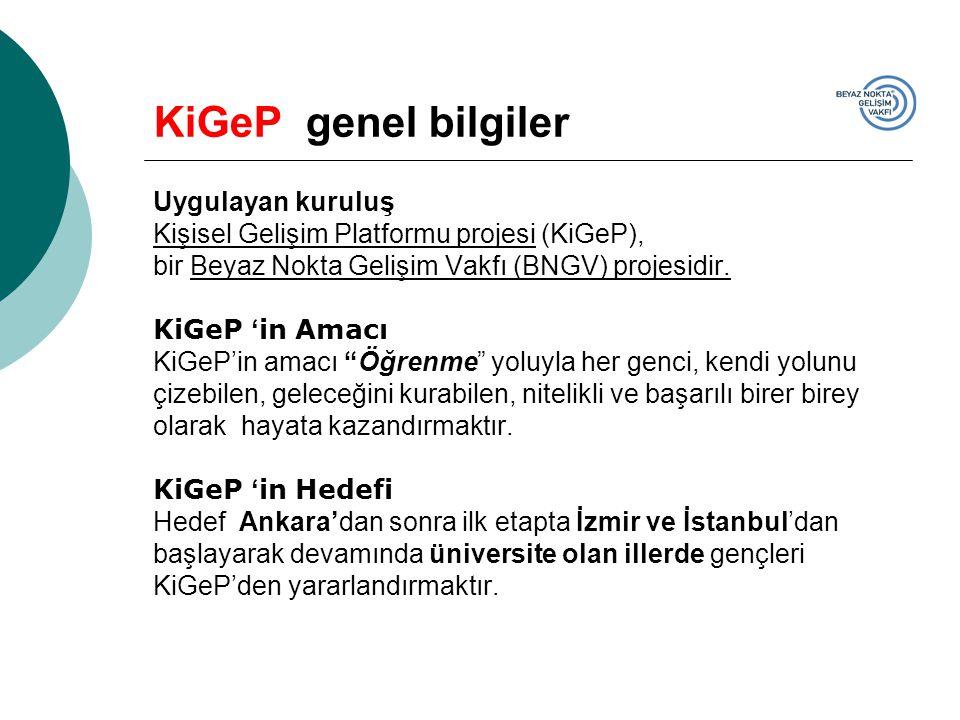 KiGeP genel bilgiler Uygulayan kuruluş Kişisel Gelişim Platformu projesi (KiGeP), bir Beyaz Nokta Gelişim Vakfı (BNGV) projesidir.