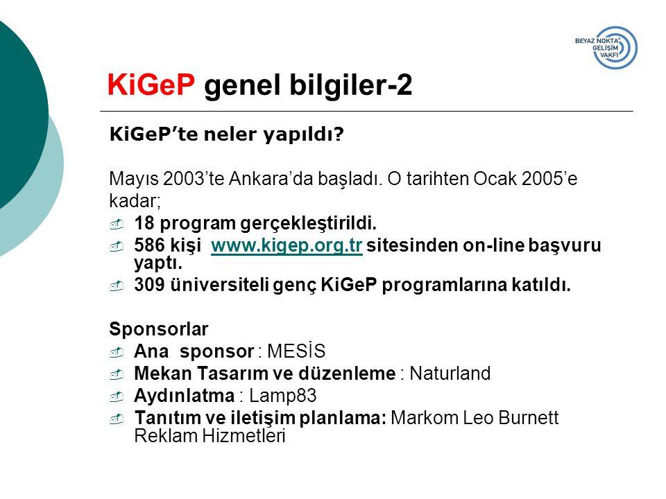 KiGeP'te neler yapıldı? Mayıs 2003'te Ankara'da başladı. O tarihten Ocak 2005'e kadar;  18 program gerçekleştirildi.  586 kişi www.kigep.org.tr site