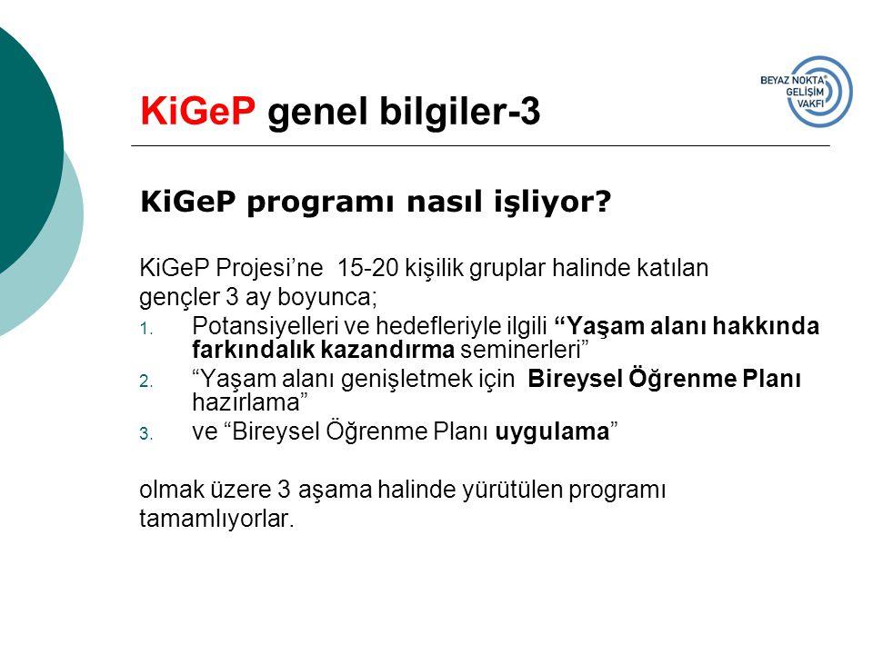 KiGeP genel bilgiler-3 KiGeP programı nasıl işliyor? KiGeP Projesi'ne 15-20 kişilik gruplar halinde katılan gençler 3 ay boyunca; 1. Potansiyelleri ve