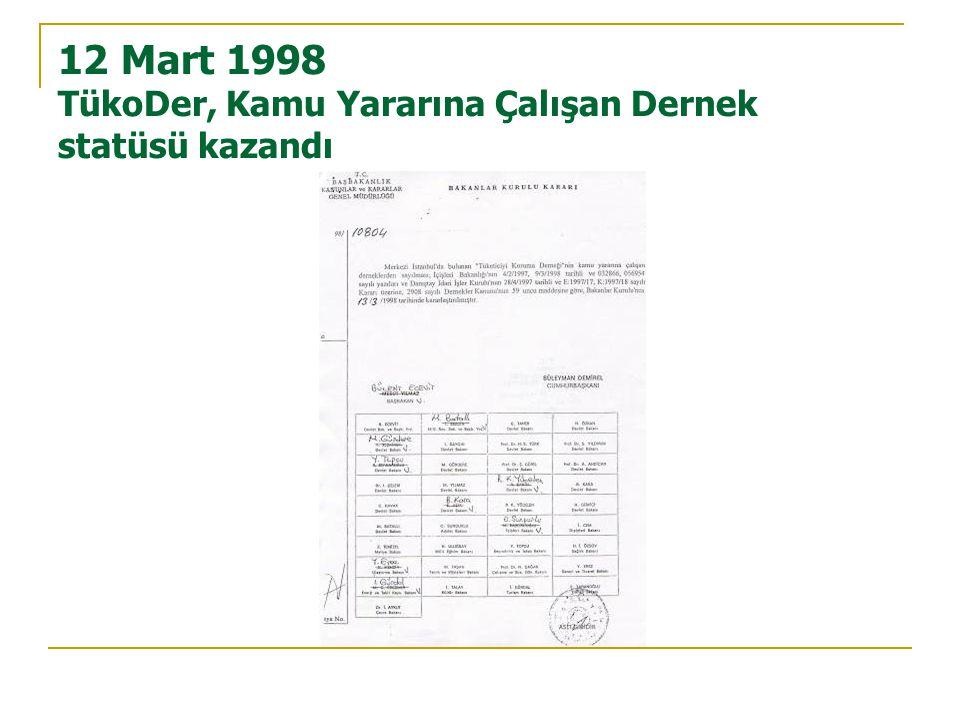 12 Mart 1998 TükoDer, Kamu Yararına Çalışan Dernek statüsü kazandı