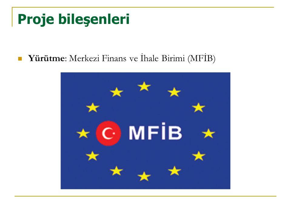 Proje bileşenleri  Yürütme: Merkezi Finans ve İhale Birimi (MFİB)