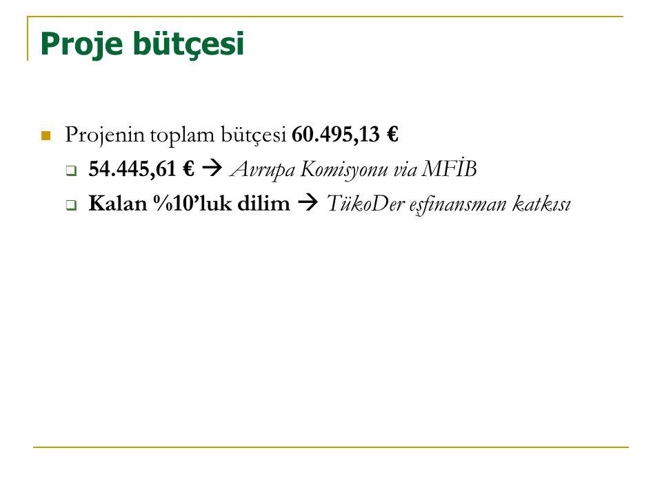 Proje bütçesi  Projenin toplam bütçesi 60.495,13 €  54.445,61 €  Avrupa Komisyonu via MFİB  Kalan %10'luk dilim  TükoDer eşfinansman katkısı