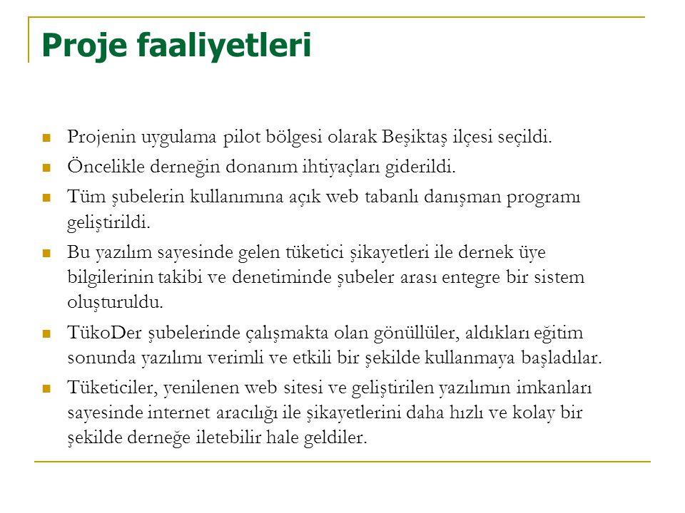 Proje faaliyetleri  Projenin uygulama pilot bölgesi olarak Beşiktaş ilçesi seçildi.  Öncelikle derneğin donanım ihtiyaçları giderildi.  Tüm şubeler