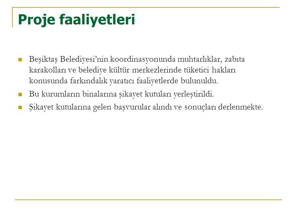Proje faaliyetleri  Beşiktaş Belediyesi'nin koordinasyonunda muhtarlıklar, zabıta karakolları ve belediye kültür merkezlerinde tüketici hakları konus