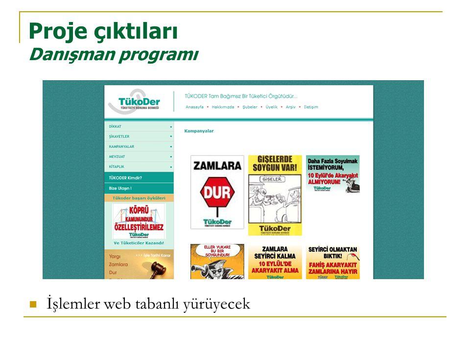Proje çıktıları Danışman programı  İşlemler web tabanlı yürüyecek