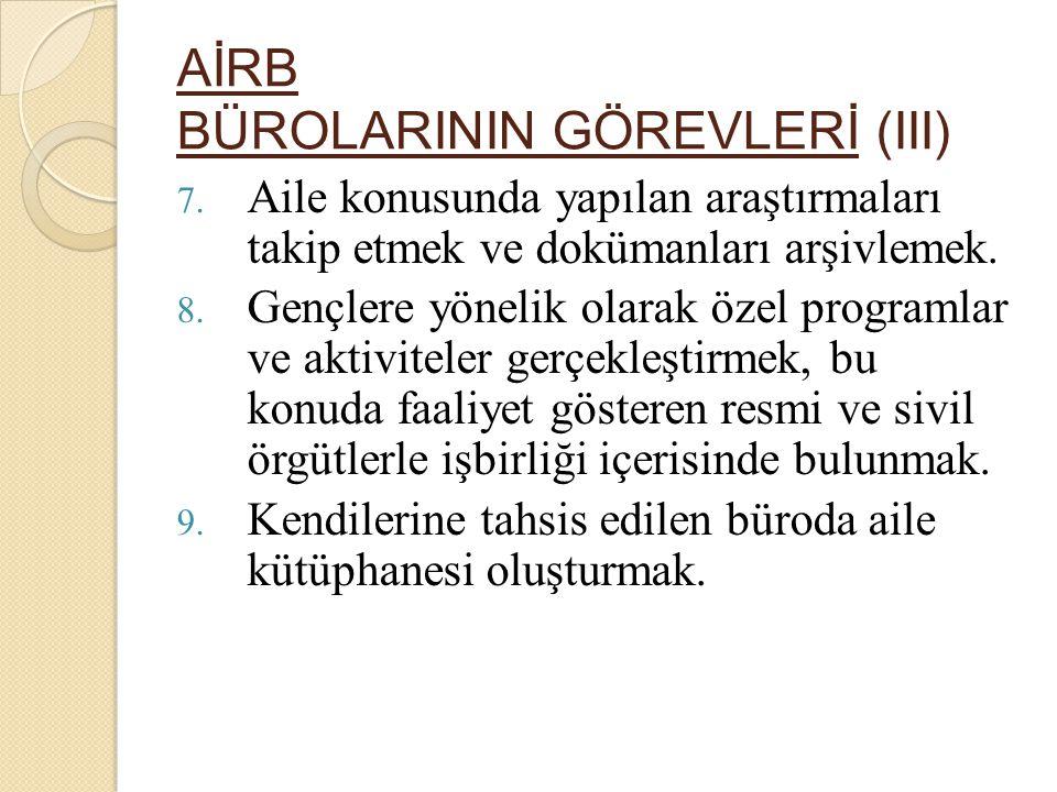 AİRB BÜROLARININ GÖREVLERİ (III) 7.