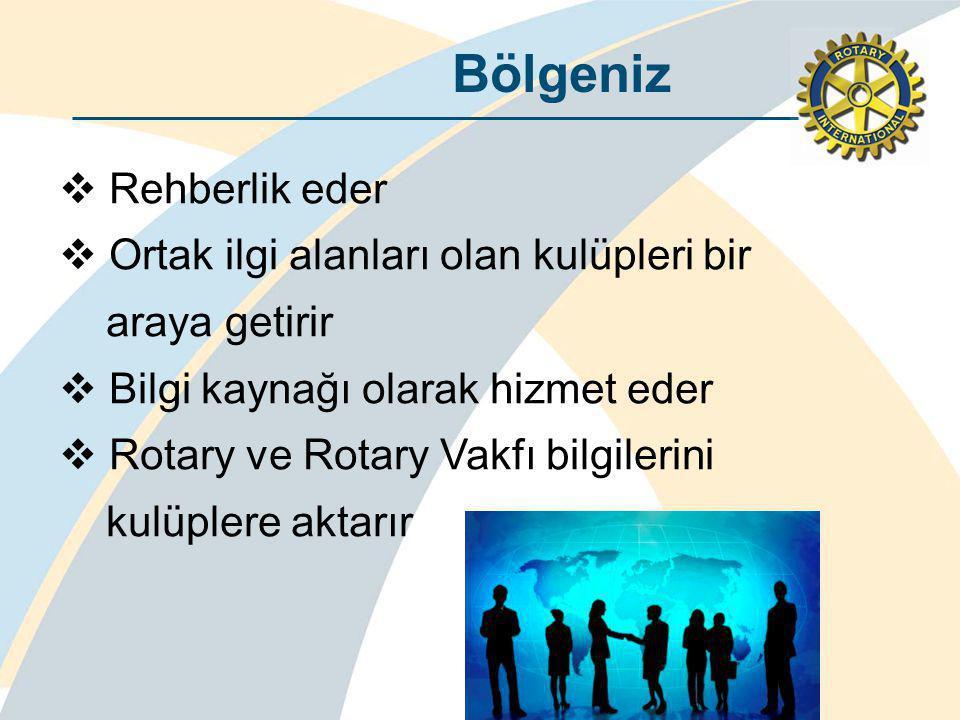 Bölgeniz  Rehberlik eder  Ortak ilgi alanları olan kulüpleri bir araya getirir  Bilgi kaynağı olarak hizmet eder  Rotary ve Rotary Vakfı bilgilerini kulüplere aktarır