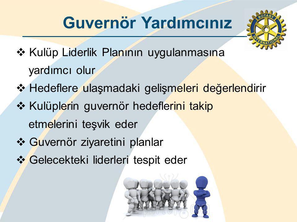 Guvernör Yardımcınız  Kulüp Liderlik Planının uygulanmasına yardımcı olur  Hedeflere ulaşmadaki gelişmeleri değerlendirir  Kulüplerin guvernör hedeflerini takip etmelerini teşvik eder  Guvernör ziyaretini planlar  Gelecekteki liderleri tespit eder