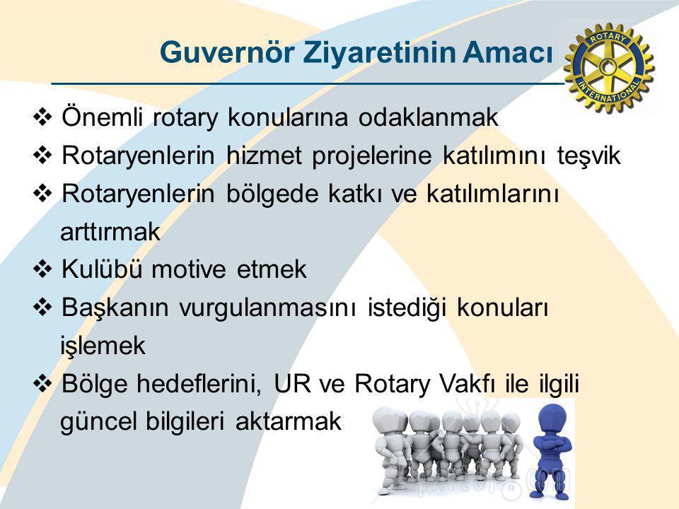 Guvernör Ziyaretinin Amacı  Önemli rotary konularına odaklanmak  Rotaryenlerin hizmet projelerine katılımını teşvik  Rotaryenlerin bölgede katkı ve katılımlarını arttırmak  Kulübü motive etmek  Başkanın vurgulanmasını istediği konuları işlemek  Bölge hedeflerini, UR ve Rotary Vakfı ile ilgili güncel bilgileri aktarmak