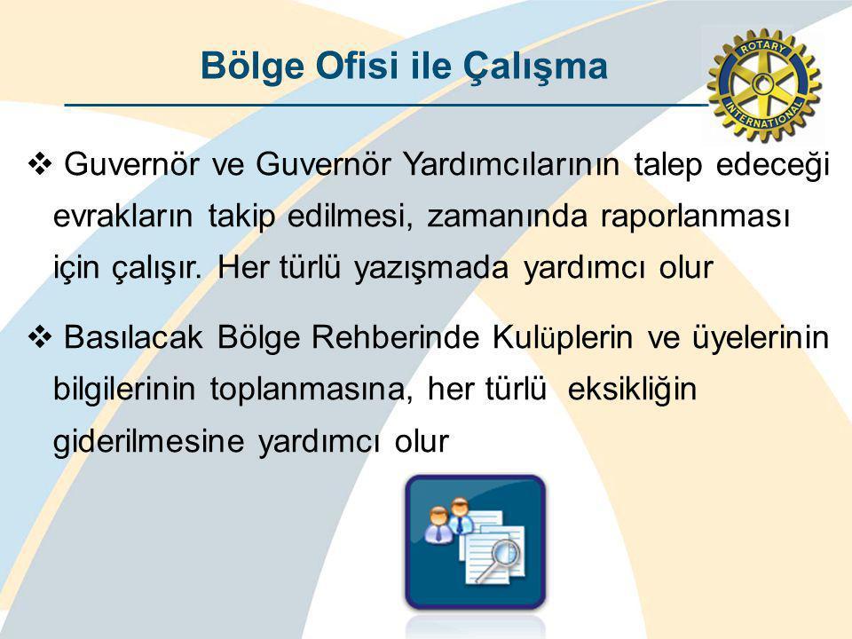 Bölge Ofisi ile Çalışma  Guvernör ve Guvernör Yardımcılarının talep edeceği evrakların takip edilmesi, zamanında raporlanması için çalışır.