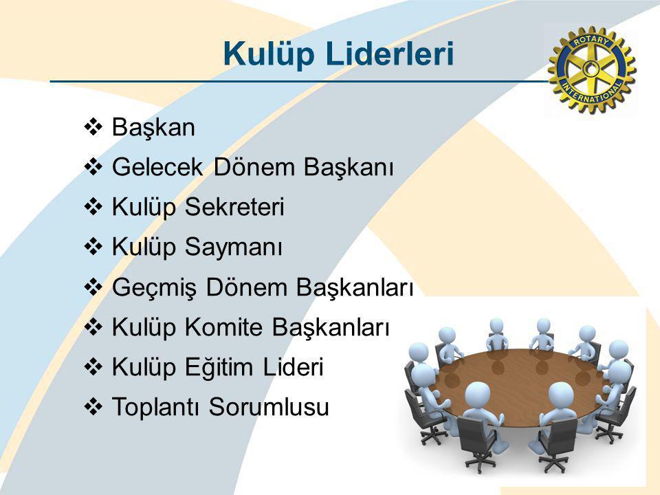 Kulüp Liderleri  Başkan  Gelecek Dönem Başkanı  Kulüp Sekreteri  Kulüp Saymanı  Geçmiş Dönem Başkanları  Kulüp Komite Başkanları  Kulüp Eğitim Lideri  Toplantı Sorumlusu