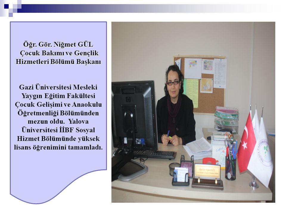 Öğr. Gör. Niğmet GÜL Çocuk Bakımı ve Gençlik Hizmetleri Bölümü Başkanı Çocuk Bakımı ve Gençlik Hizmetleri Bölümü Başkanı Gazi Üniversitesi Mesleki Yay