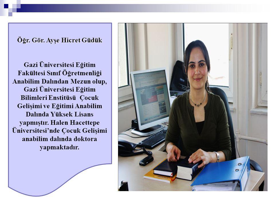 Öğr. Gör. Ayşe Hicret Güdük Gazi Üniversitesi Eğitim Fakültesi Sınıf Öğretmenliği Anabilim Dalından Mezun olup, Gazi Üniversitesi Eğitim Bilimleri Ens