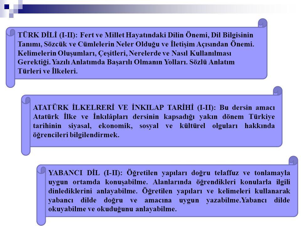 ATATÜRK İLKELRERİ VE İNKILAP TARİHİ (I-II): Bu dersin amacı Atatürk İlke ve İnkılâpları dersinin kapsadığı yakın dönem Türkiye tarihinin siyasal, ekon