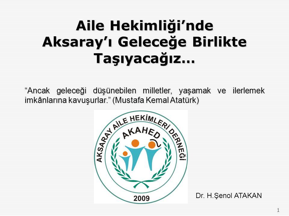 1 Aile Hekimliği'nde Aksaray'ı Geleceğe Birlikte Taşıyacağız… Ancak geleceği düşünebilen milletler, yaşamak ve ilerlemek imkânlarına kavuşurlar. (Mustafa Kemal Atatürk) Dr.