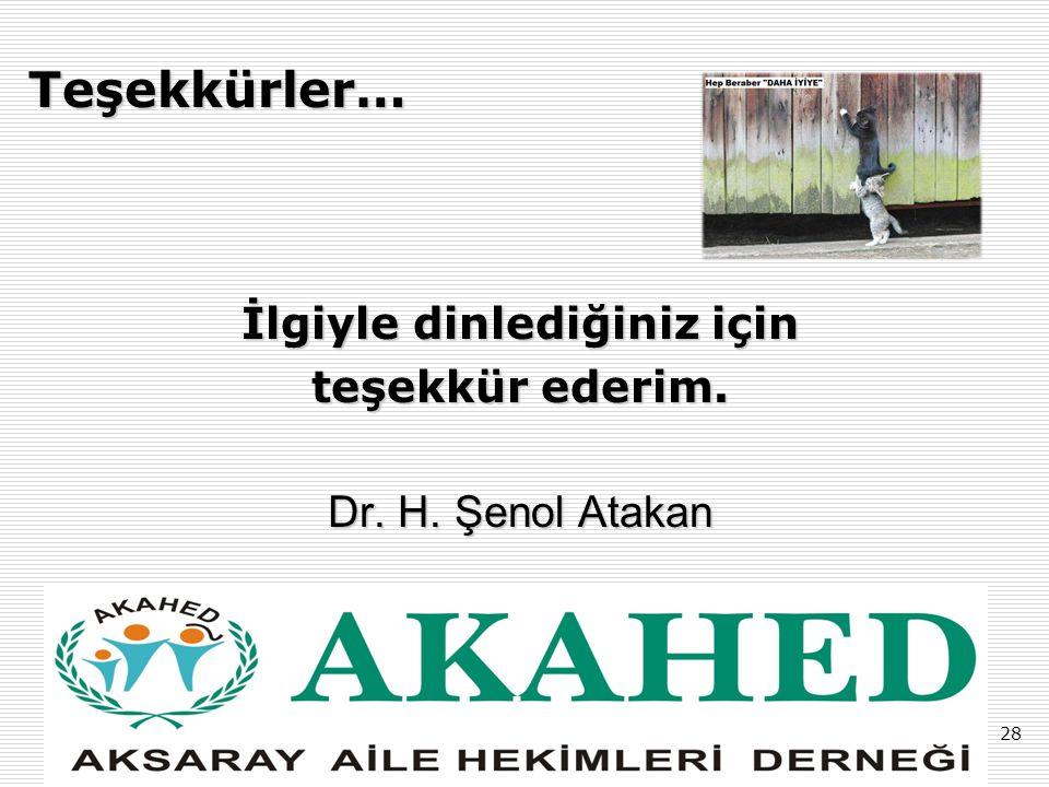 28 Teşekkürler… İlgiyle dinlediğiniz için teşekkür ederim. Dr. H. Şenol Atakan