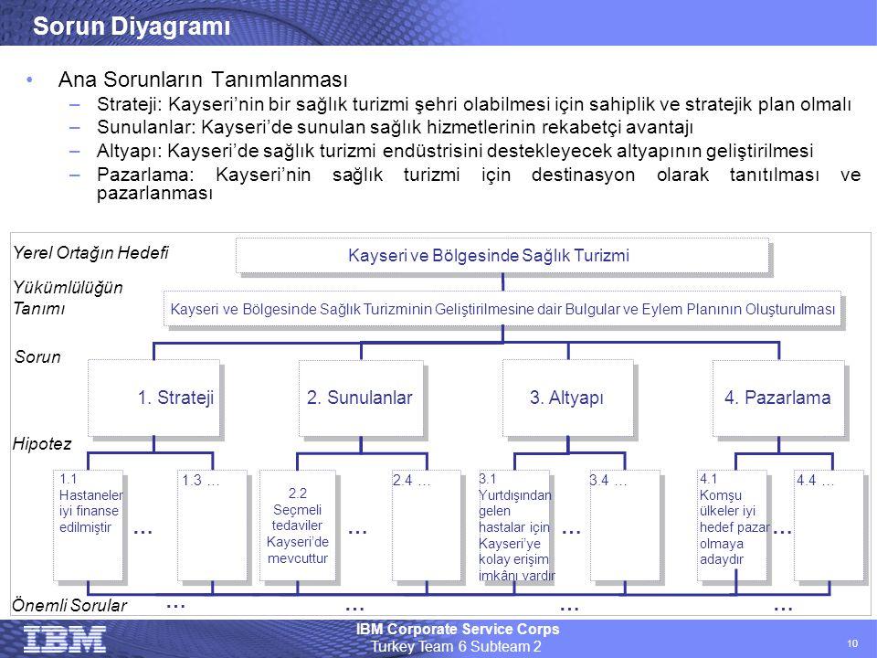 IBM Corporate Service Corps Turkey Team 6 Subteam 2 10 Sorun Diyagramı •Ana Sorunların Tanımlanması –Strateji: Kayseri'nin bir sağlık turizmi şehri ol