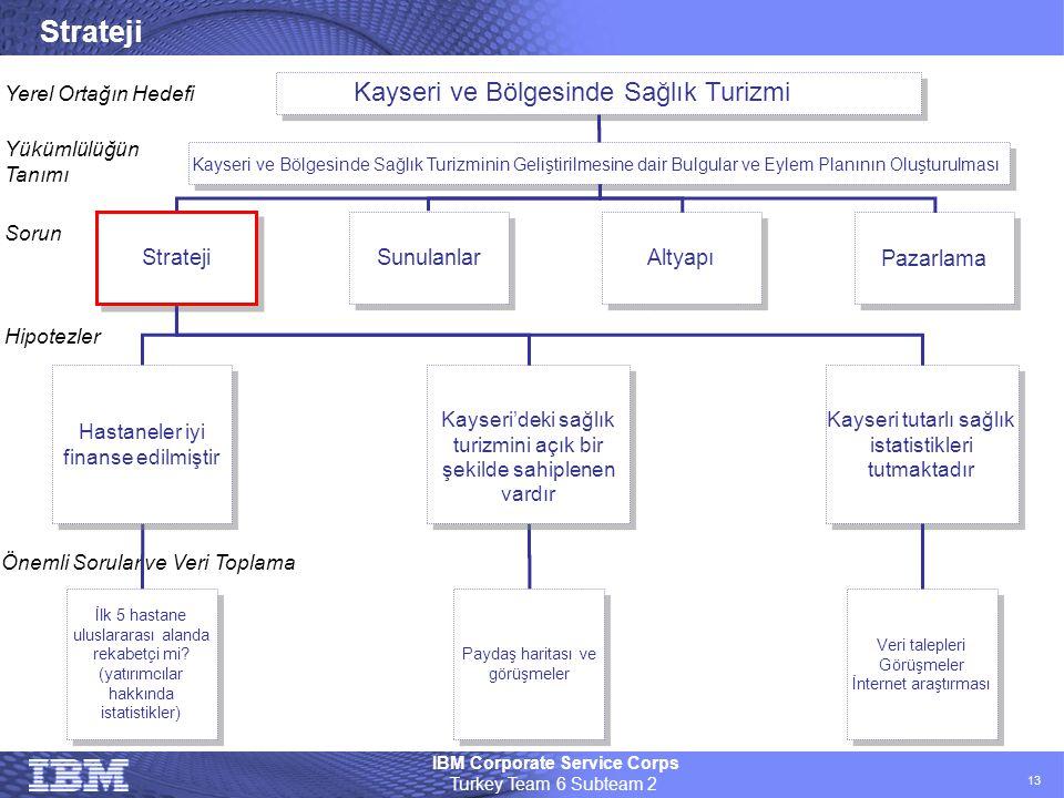 IBM Corporate Service Corps Turkey Team 6 Subteam 2 13 Strateji Kayseri ve Bölgesinde Sağlık Turizmi Kayseri ve Bölgesinde Sağlık Turizminin Geliştiri