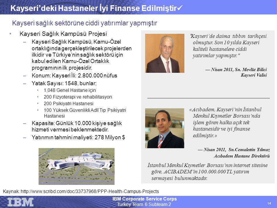 IBM Corporate Service Corps Turkey Team 6 Subteam 2 14 Kayseri'deki Hastaneler İyi Finanse Edilmiştir  •Kayseri Sağlık Kampüsü Projesi –Kayseri Sağlı