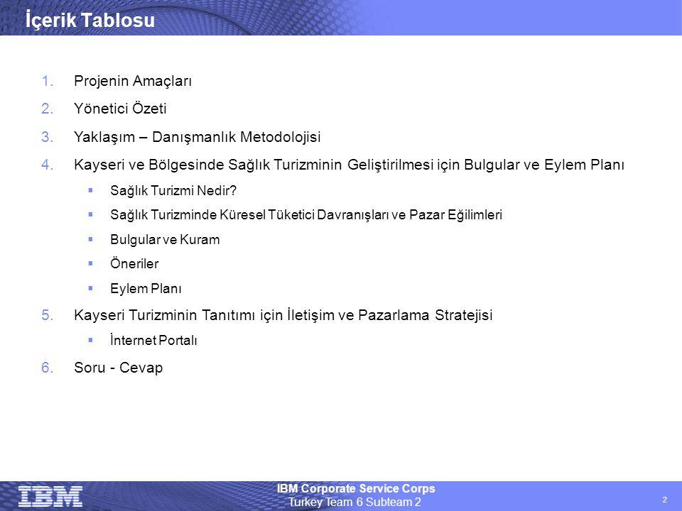 IBM Corporate Service Corps Turkey Team 6 Subteam 2 2 İçerik Tablosu 1.Projenin Amaçları 2.Yönetici Özeti 3.Yaklaşım – Danışmanlık Metodolojisi 4.Kays