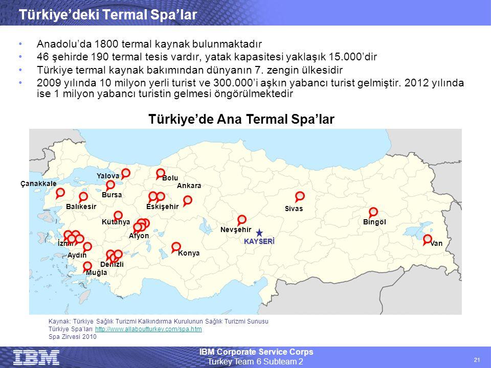 IBM Corporate Service Corps Turkey Team 6 Subteam 2 21 Türkiye'deki Termal Spa'lar •Anadolu'da 1800 termal kaynak bulunmaktadır •46 şehirde 190 termal