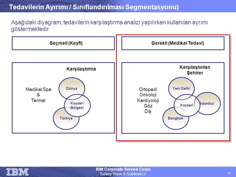 IBM Corporate Service Corps Turkey Team 6 Subteam 2 24 Tedavilerin Ayırımı / Sınıflandırılması Segmentasyonu) Bangkok İstanbul Yeni Delhi Kayseri Orto