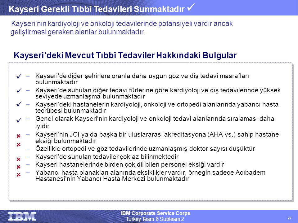 IBM Corporate Service Corps Turkey Team 6 Subteam 2 27 Kayseri'deki Mevcut Tıbbî Tedaviler Hakkındaki Bulgular –Kayseri'de diğer şehirlere oranla daha