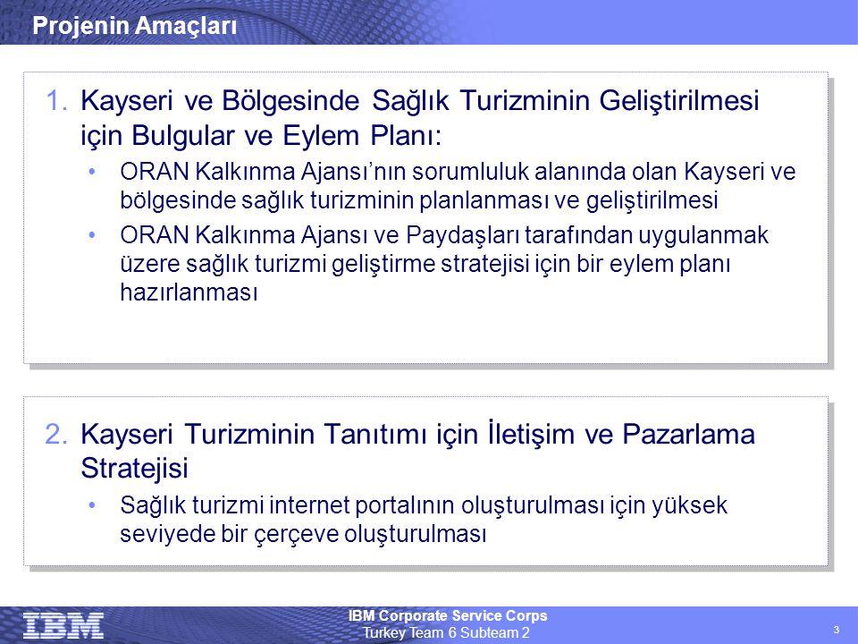 IBM Corporate Service Corps Turkey Team 6 Subteam 2 3 Projenin Amaçları 1.Kayseri ve Bölgesinde Sağlık Turizminin Geliştirilmesi için Bulgular ve Eyle