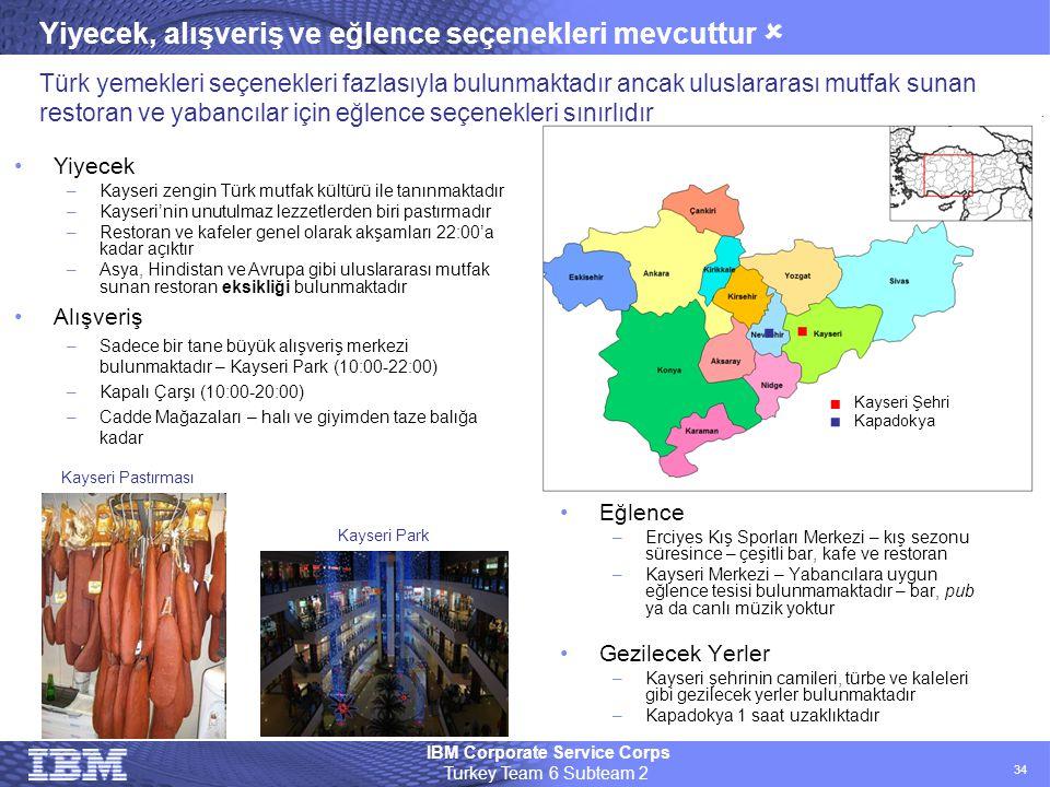 IBM Corporate Service Corps Turkey Team 6 Subteam 2 34 Yiyecek, alışveriş ve eğlence seçenekleri mevcuttur  •Eğlence –Erciyes Kış Sporları Merkezi –