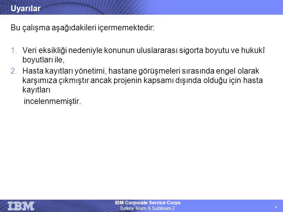IBM Corporate Service Corps Turkey Team 6 Subteam 2 4 Uyarılar Bu çalışma aşağıdakileri içermemektedir: 1.Veri eksikliği nedeniyle konunun uluslararas