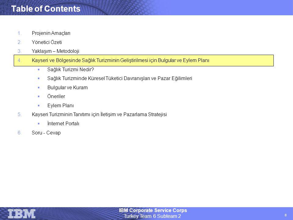 IBM Corporate Service Corps Turkey Team 6 Subteam 2 8 Table of Contents 1.Projenin Amaçları 2.Yönetici Özeti 3.Yaklaşım – Metodoloji 4.Kayseri ve Bölg