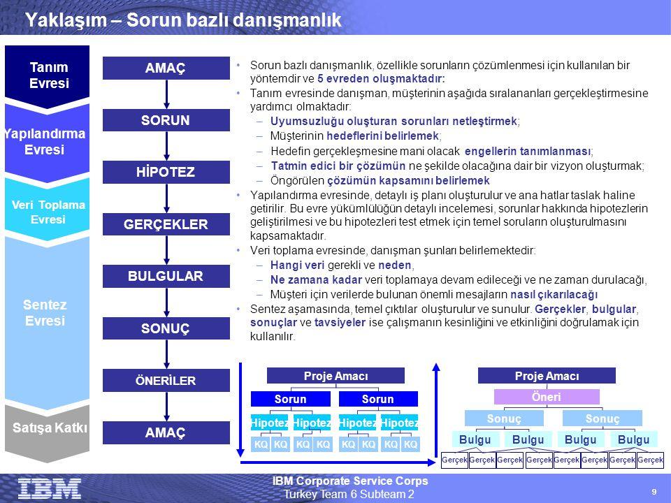 IBM Corporate Service Corps Turkey Team 6 Subteam 2 99 Yaklaşım – Sorun bazlı danışmanlık •Sorun bazlı danışmanlık, özellikle sorunların çözümlenmesi