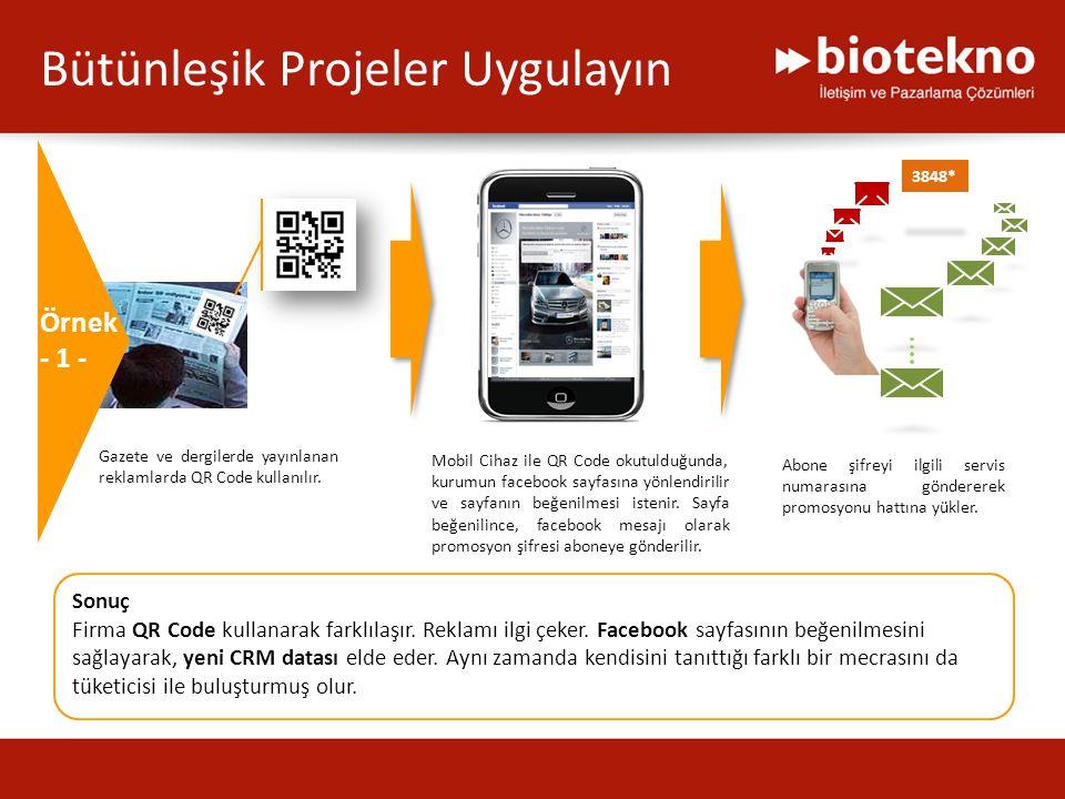 Gazete ve dergilerde yayınlanan reklamlarda QR Code kullanılır. Mobil Cihaz ile QR Code okutulduğunda, kurumun facebook sayfasına yönlendirilir ve say