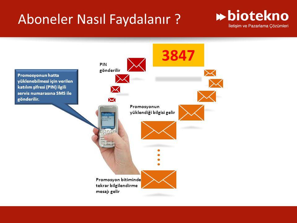 3847 Promosyonun hatta yüklenebilmesi için verilen katılım şifresi (PIN) ilgili servis numarasına SMS ile gönderilir. PIN gönderilir Promosyonun yükle