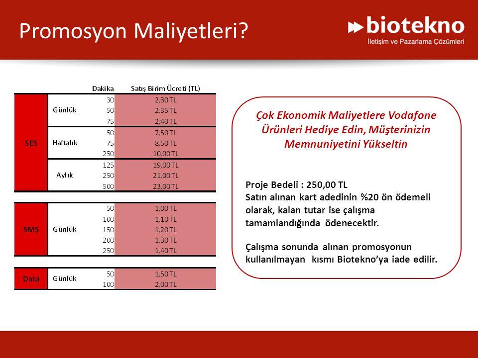 Promosyon Maliyetleri? Çok Ekonomik Maliyetlere Vodafone Ürünleri Hediye Edin, Müşterinizin Memnuniyetini Yükseltin Proje Bedeli : 250,00 TL Satın alı