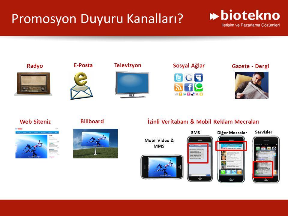 Web Siteniz Televizyon Sosyal Ağlar Radyo Billboard Gazete - Dergi E-Posta İzinli Veritabanı & Mobil Reklam Mecraları Mobil Video & MMS SMSDiğer Mecra