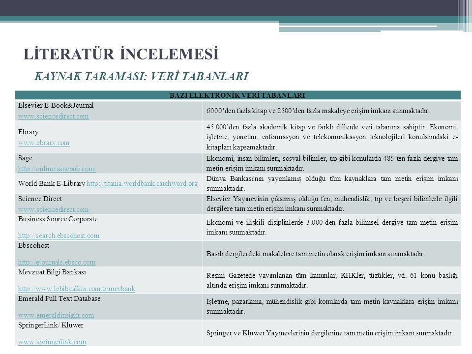 LİTERATÜR İNCELEMESİ KAYNAK TARAMASI: VERİ TABANLARI BAZI ELEKTRONİK VERİ TABANLARI Elsevier E-Book&Journal www.sciencedirect.com 6000'den fazla kitap ve 2500'den fazla makaleye erişim imkanı sunmaktadır.