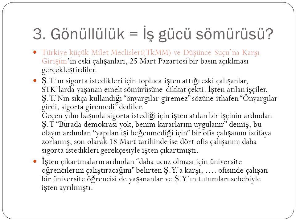 3. Gönüllülük = İş gücü sömürüsü?  Türkiye küçük Milet Meclisleri(TkMM) ve Dü ş ünce Suçu'na Kar ş ı Giri ş im'in eski çalı ş anları, 25 Mart Pazarte