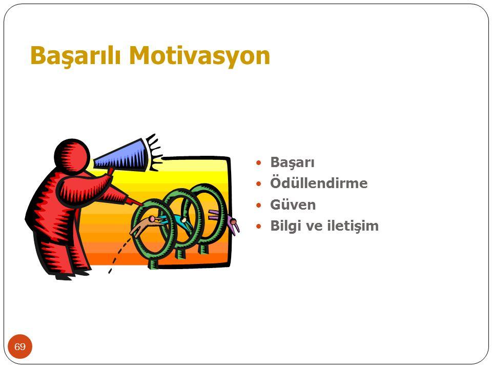 69 Başarılı Motivasyon  Başarı  Ödüllendirme  Güven  Bilgi ve iletişim