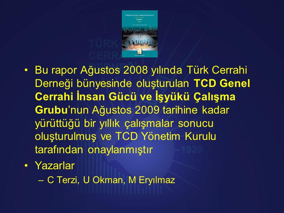 •Bu rapor Ağustos 2008 yılında Türk Cerrahi Derneği bünyesinde oluşturulan TCD Genel Cerrahi İnsan Gücü ve İşyükü Çalışma Grubu'nun Ağustos 2009 tarih