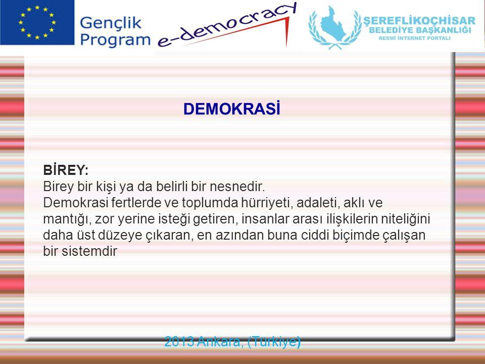 2013 Ankara, (Türkiye) DEMOKRASİ BİREY: Birey bir kişi ya da belirli bir nesnedir. Demokrasi fertlerde ve toplumda hürriyeti, adaleti, aklı ve mantığı