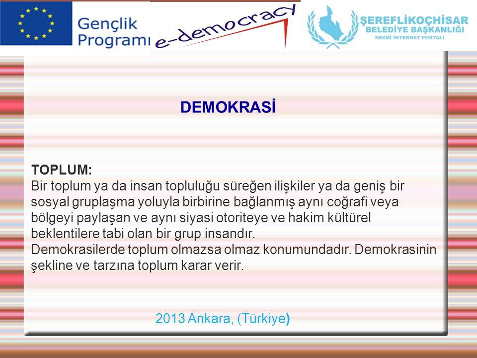 2013 Ankara, (Türkiye) DEMOKRASİ TOPLUM: Bir toplum ya da insan topluluğu süreğen ilişkiler ya da geniş bir sosyal gruplaşma yoluyla birbirine bağlanm