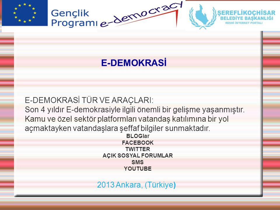 2013 Ankara, (Türkiye) E-DEMOKRASİ E-DEMOKRASİ TÜR VE ARAÇLARI: Son 4 yıldır E-demokrasiyle ilgili önemli bir gelişme yaşanmıştır. Kamu ve özel sektör