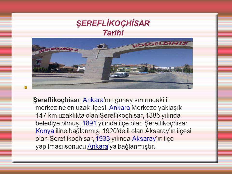 ŞEREFLİKOÇHİSAR Tarihi Şereflikoçhisar, Ankara'nın güney sınırındaki il merkezine en uzak ilçesi. Ankara Merkeze yaklaşık 147 km uzaklıkta olan Şerefl