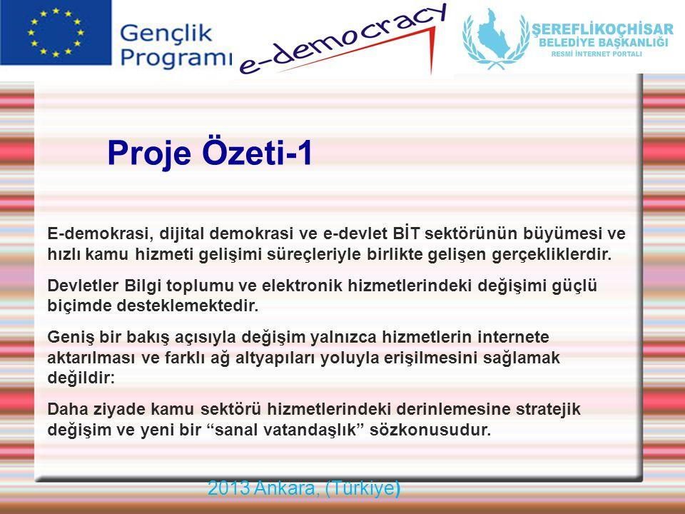 2013 Ankara, (Türkiye) Montpellier France Décembre 2008 Proje Özeti-1 E-demokrasi, dijital demokrasi ve e-devlet BİT sektörünün büyümesi ve hızlı kamu
